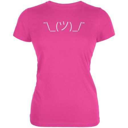 Funny Emojicon Shrug Hot Pink Juniors Soft T-Shirt - X-Large