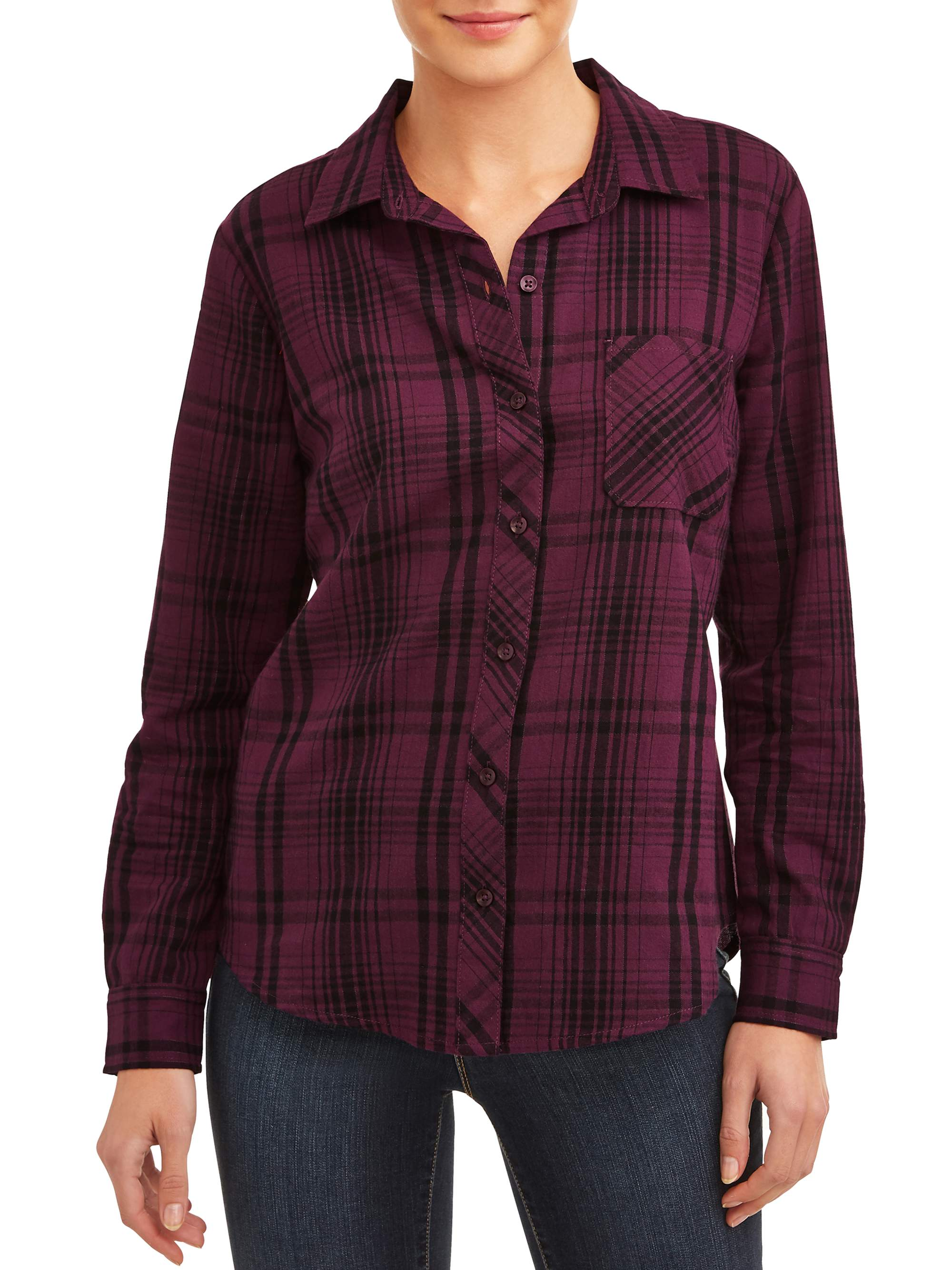 TIME /& TRU Women/'s Red Plaid Shirt with rolled sleeve cuffs Size XL fits 16 18