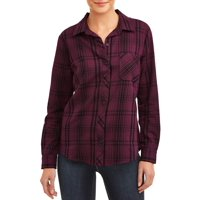 Deals on Time and Tru Womens Woven Plaid Shirt