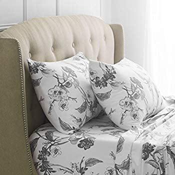 Signature 190 Gram 100 Cotton Heavyweight Velvet Flannel Bed Sheet Set California King Floral Graphite Walmart Com Walmart Com