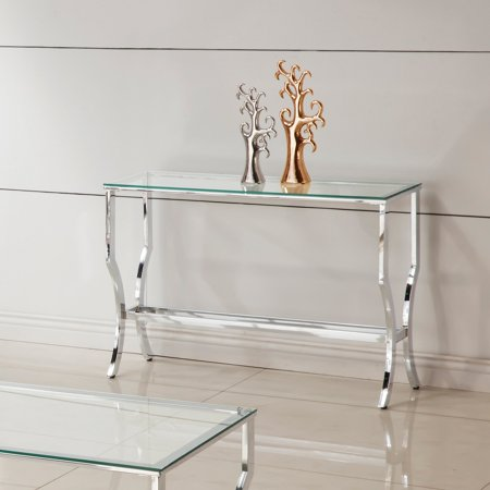 Coaster Company Sofa Table, Chrome and Tempered