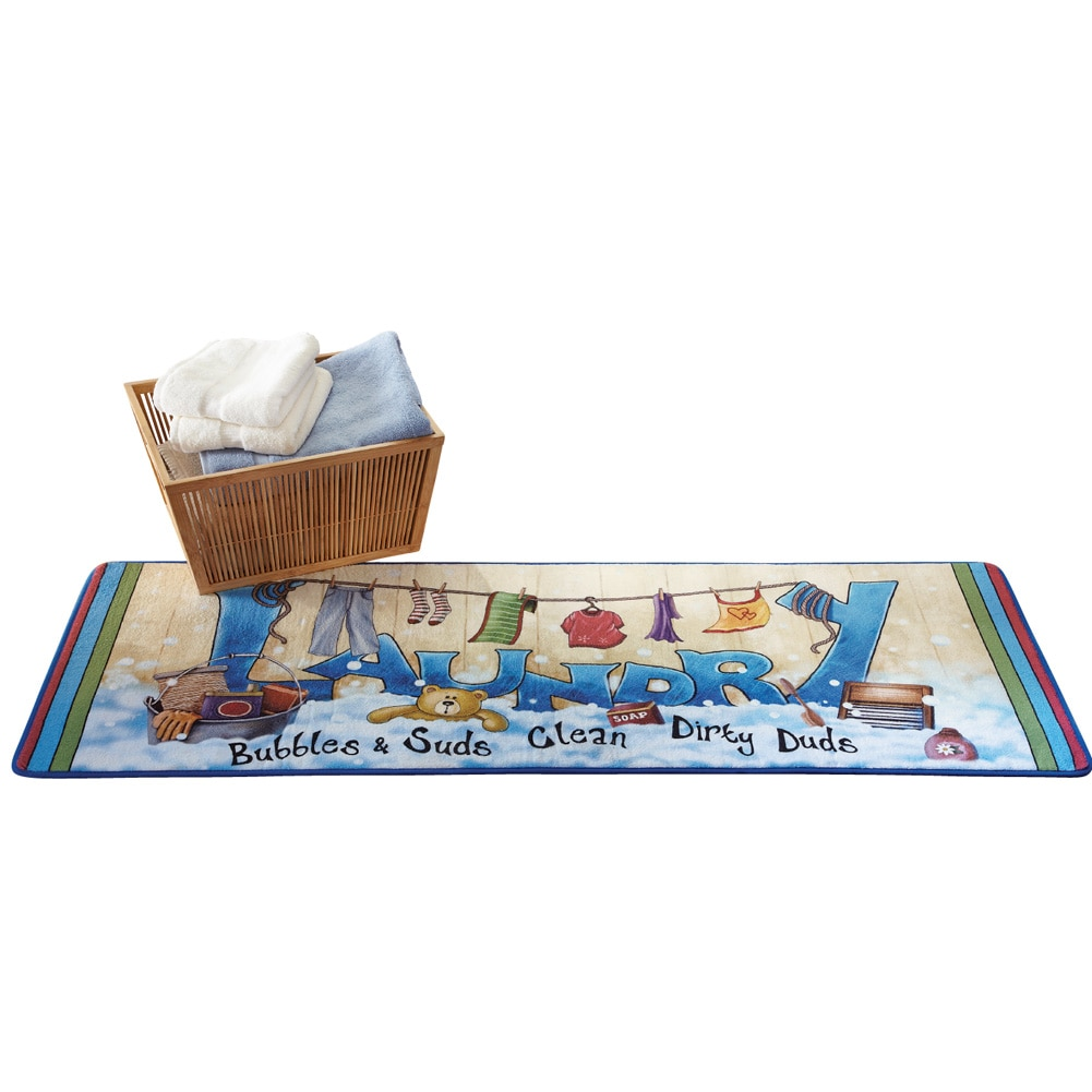 Collections Etc Extra Long Colorful Laundry Bubbles and Suds Floor Runner Rug, Multi