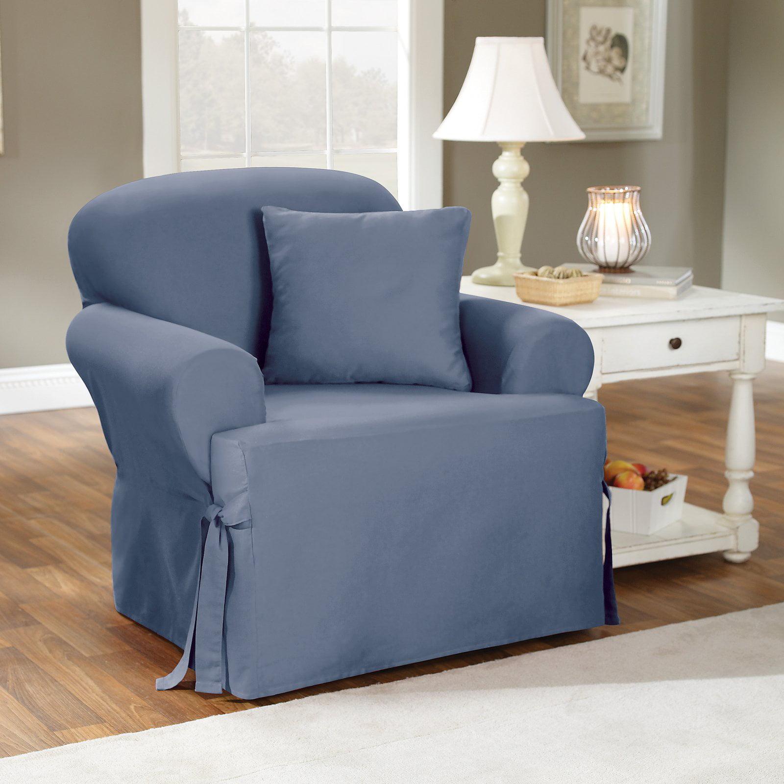 Sure Fit Cotton Duck T Cushion Chair Slipcover Walmart Com