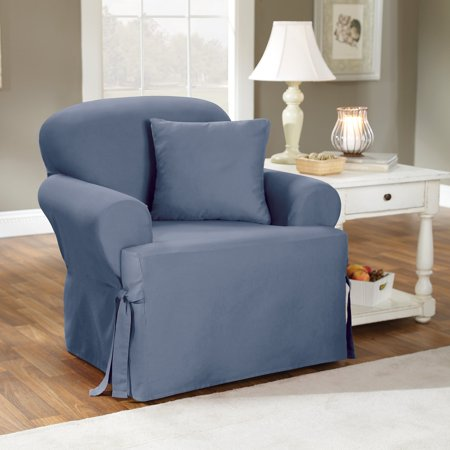 Sure Fit Duck Slipcover - Sure Fit Cotton Duck T-Cushion Chair Slipcover