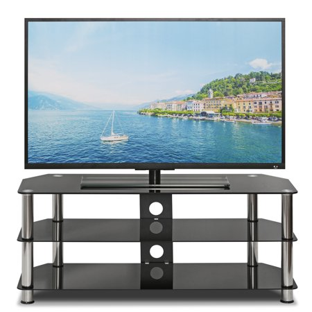 Silk Screen Glass TV Stand, Black