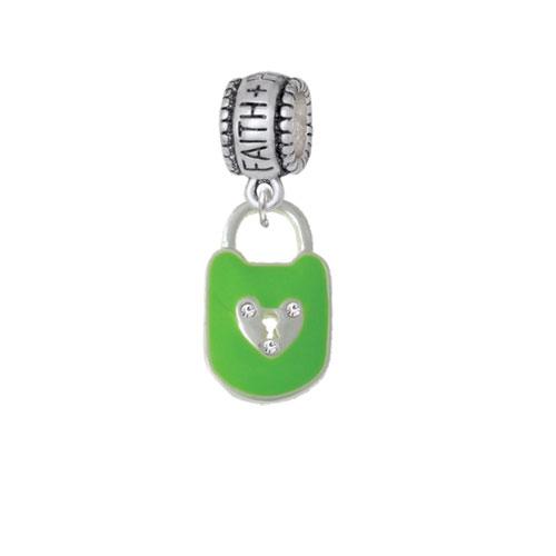 Lime Green Enamel Lock with Clear Crystals - Faith Hope Love Charm Bead