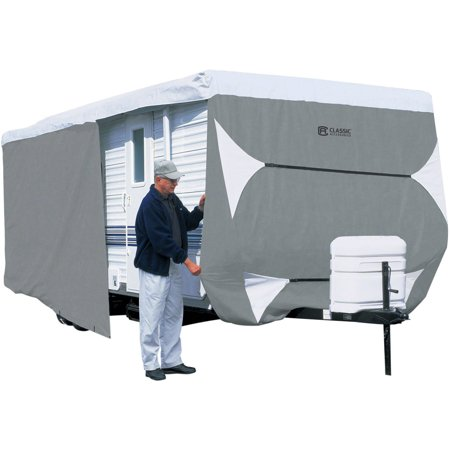 Classic Accessories OverDrive PolyPRO™ 3 Deluxe Travel Trailer Cover or Toy Hauler Cover, Fits 15' - 18' RVs - Max Weather Protection RV Cover, Grey/Snow White Polypropylene Folding Trailer Cover