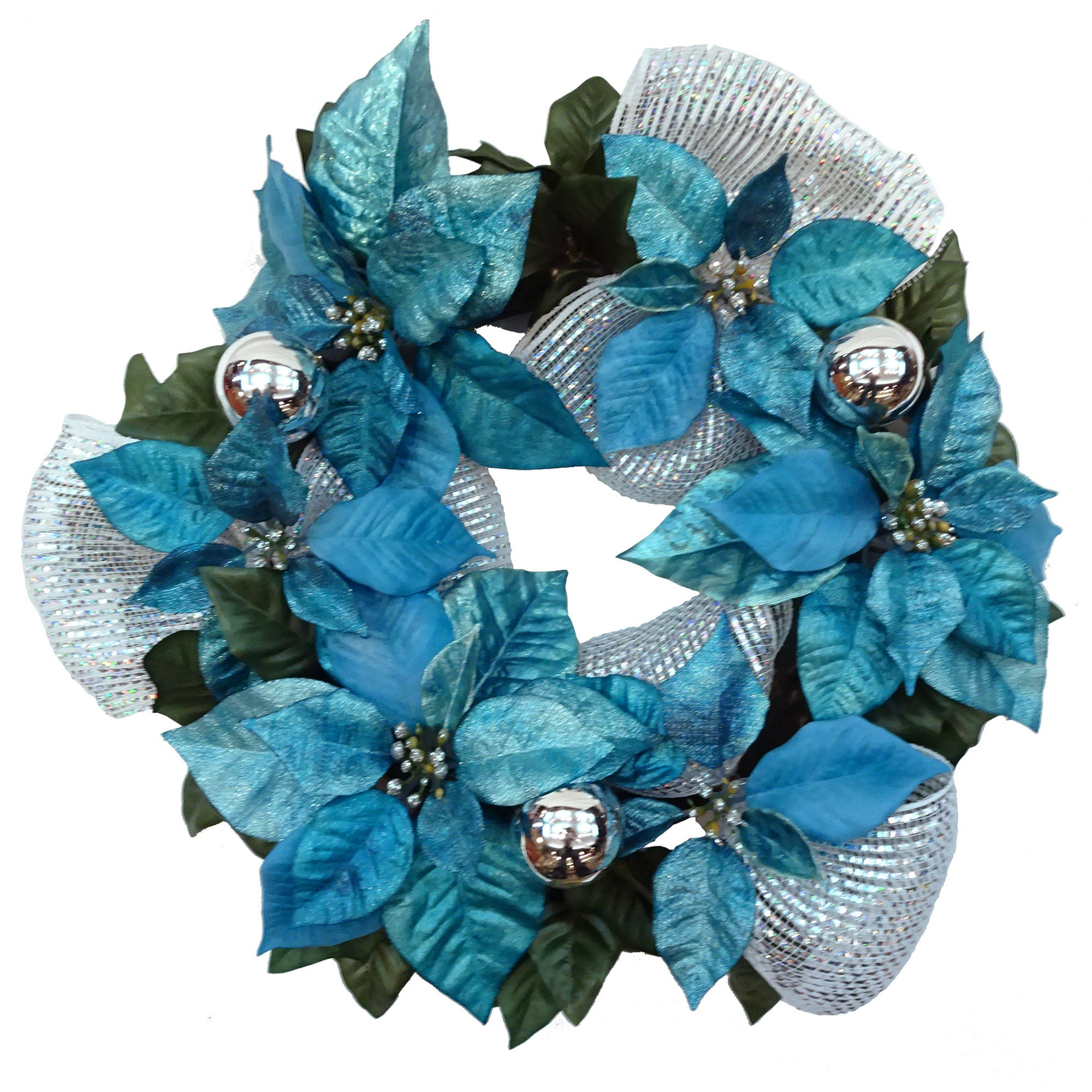 Blue and Sliver Poinsettia Wreath