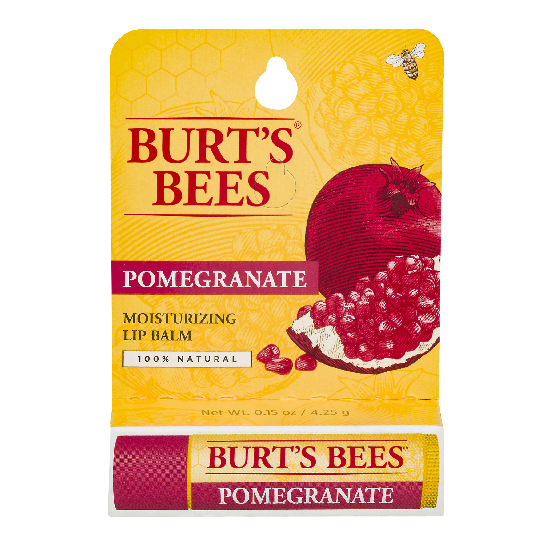 Burt's Bees 100% Natural Moisturizing Lip Balm, Pomegranate with Beeswax and Fruit Extracts - 1 Tube