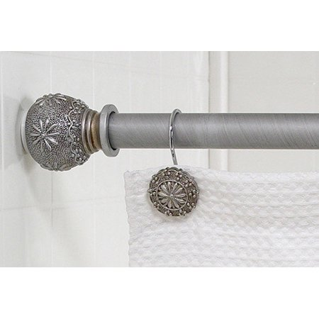 carnation home fashions 39 39 sheffield 39 39 steel shower curtain tension rod with decorative resin. Black Bedroom Furniture Sets. Home Design Ideas