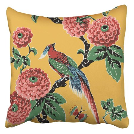 ARHOME Red Bright Paradise Bird Branch Green Leaf Chrysanthemums Vintage Watercolor Butterfly Pillow Case Cushion Cover 20x20 inch