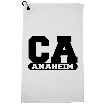 Anaheim, California CA Classic City State Sign Golf Towel with Carabiner Clip](Anaheim City)