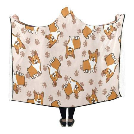 ASHLEIGH Cartoon Corgis Custom Hooded Blankets Throw Wearable Anti-Pilling Polar Fleece Blanket Wrap 56x80 inch