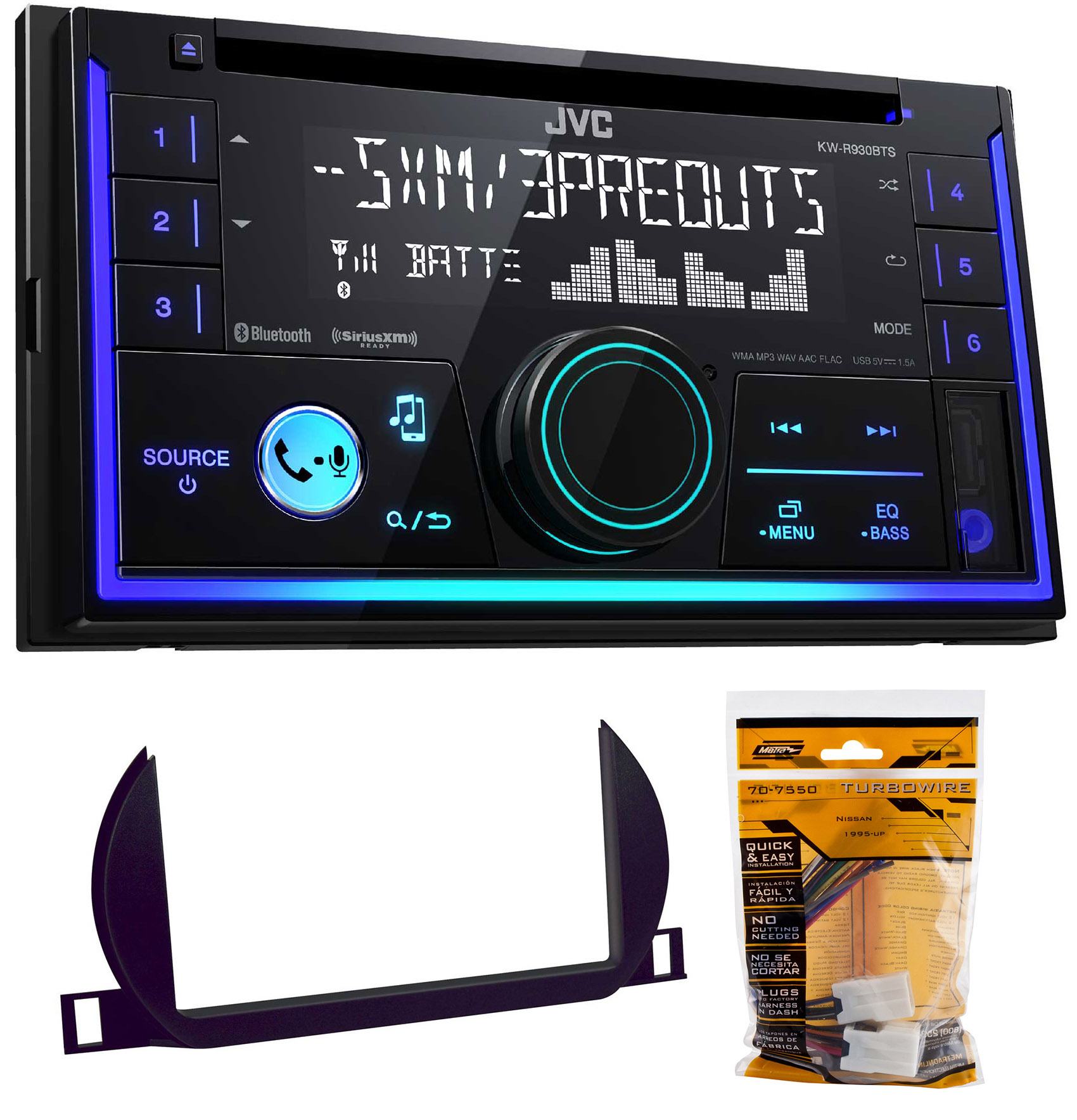 JVC Stereo CD Receiver w Bluetooth USB iPhone Sirius For 2002-2004 Nissan Altima by JVC