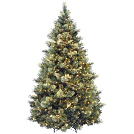 7.5ft. Carolina Pine Hinged Tree with 86 Flocked Cones and 750 Clear Lights