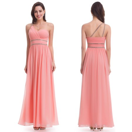 95c825cf49 Ever-Pretty - Ever-Pretty Womens Full Length Beaded One Shoulder Empire  Waist Prom Party Cocktail Bridesmaid Maxi Dresses for Women 07099 US 8 -  Walmart.com