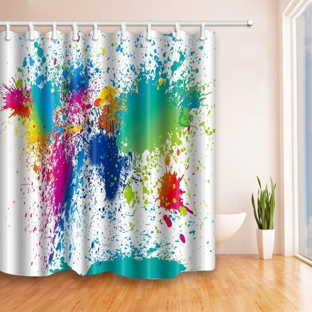 BPBOP Colorful Abstract Paint Inkjet Polyester Fabric Bath Curtain, Bathroom Shower Curtain 66x72 inches