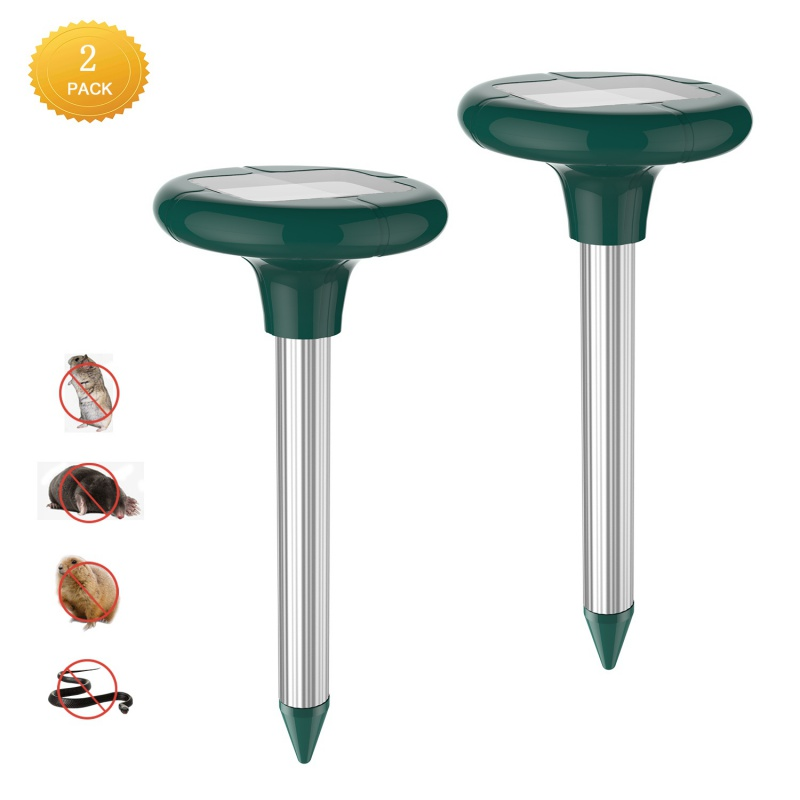 Solar Mole Repeller 2 Pack Repel Mole,Voles, Gopher,Mice,Rats,Rodent Ultrasonic Pest Control for Yard Lawn Garden,Waterproof.