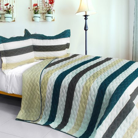 Stella Wish 3PC Vermicelli-Quilted Patchwork Quilt Set (Full/Queen Size) ()