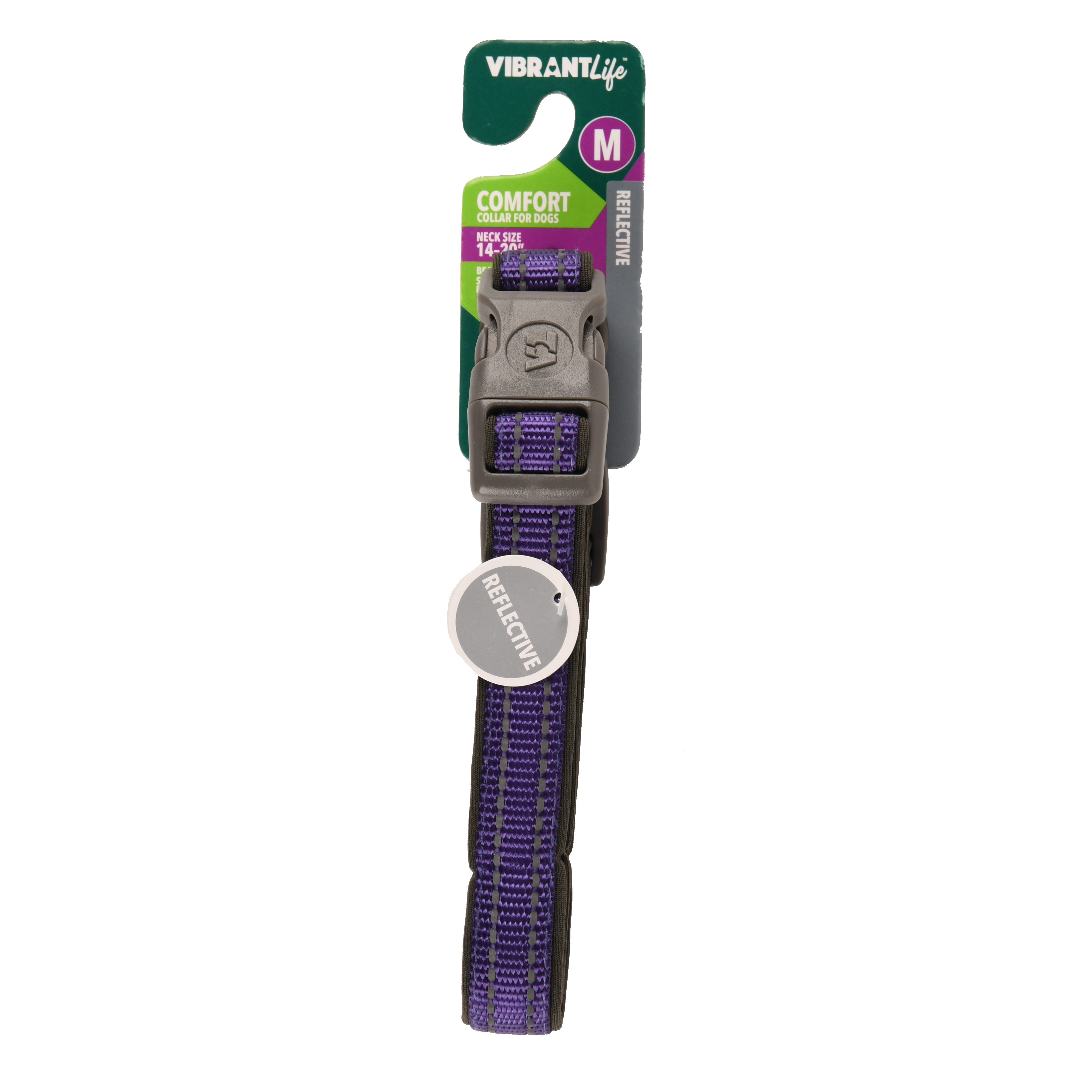 Vibrant Life Comfort Dog Collar, Reflective Purple Gray Black, Medium by Wal-Mart Stores, Inc.