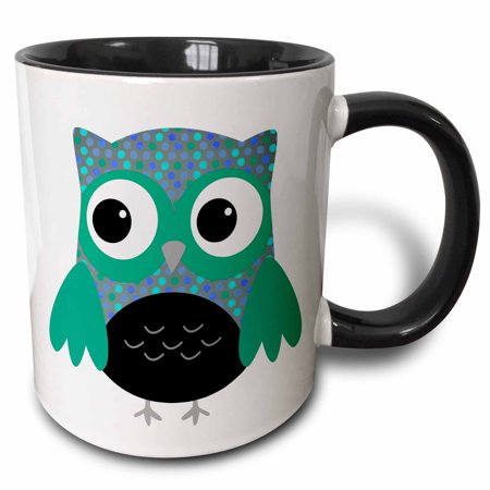 3dRose Cute Blue and Green Polka Dots Owl - Two Tone Black Mug, 11-ounce