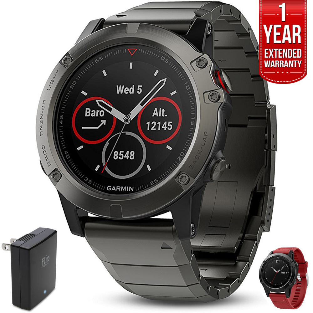 Garmin Fenix 5X Sapphire 51mm GPS Watch Slate Gray w/ Metal Band+Warranty Bundle