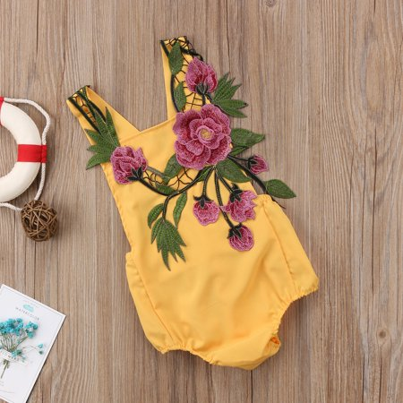 Newborn Baby Girl Embroidery Yellow Romper One Piece Bodysuit](Blanket Embroidery)