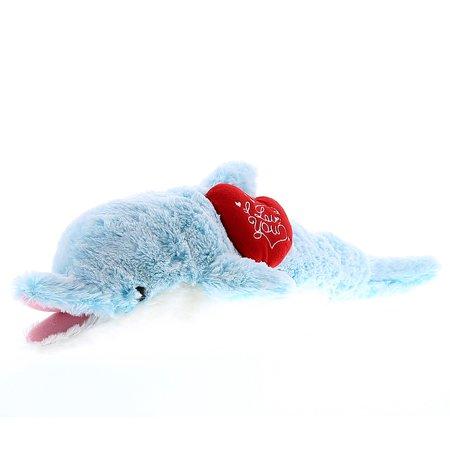 Super Soft Plush Dollibu Large Blue Dolphin I Love You Valentines (Large Dolphin)