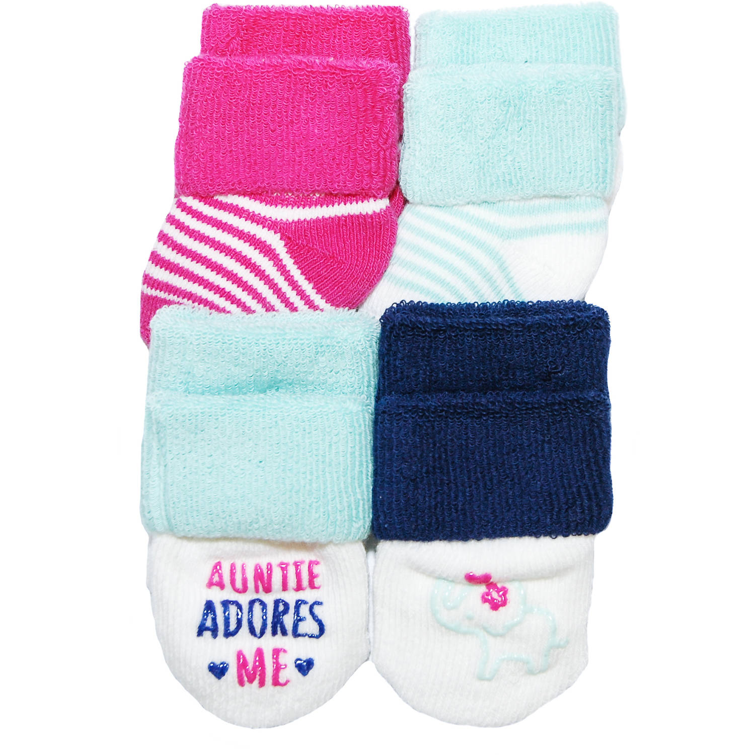 Child of Mine by Carter's Newborn Baby Girl 4-Pack Terry Cuff Socks, 0-3M