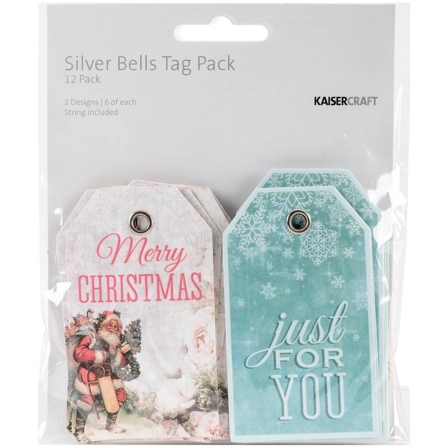 "Silver Bells Tags with String, 2"" x 3.25"", 12pk, 2 Double-Sided Designs, 6 Each"