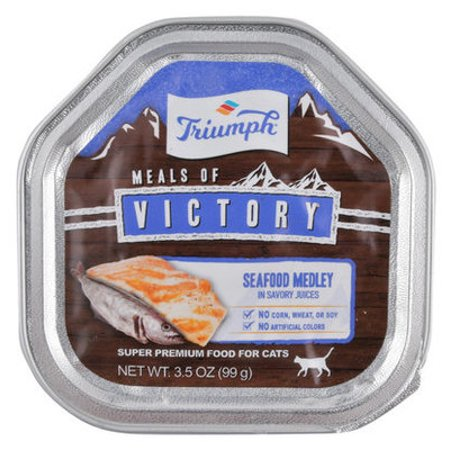 - Triumph Meals of Victory Seafood Medley in Savory Juices Cat Food - Single Meals of Victory Seafood Medley Cat Food, 3.5 oz