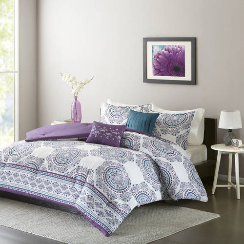 Luxury Comforter Set in White-Purple Medallion, Choose your Size