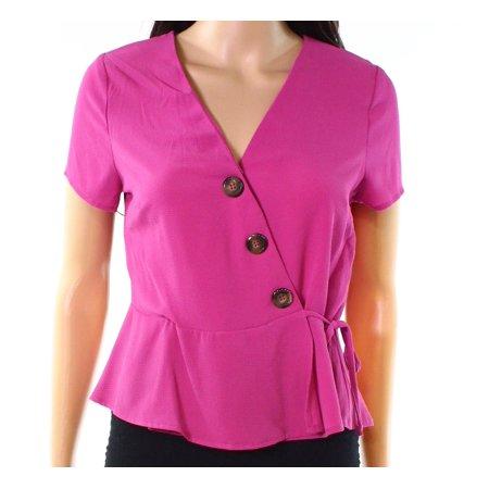 Womens Large Surplice Neck Button Detail Blouse L (Detail Button)