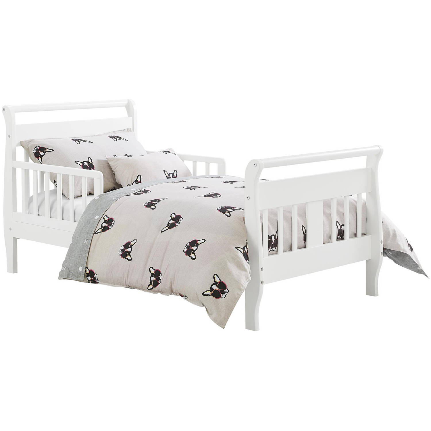 white sleigh toddler bed baby relax w 2 side rail. Black Bedroom Furniture Sets. Home Design Ideas