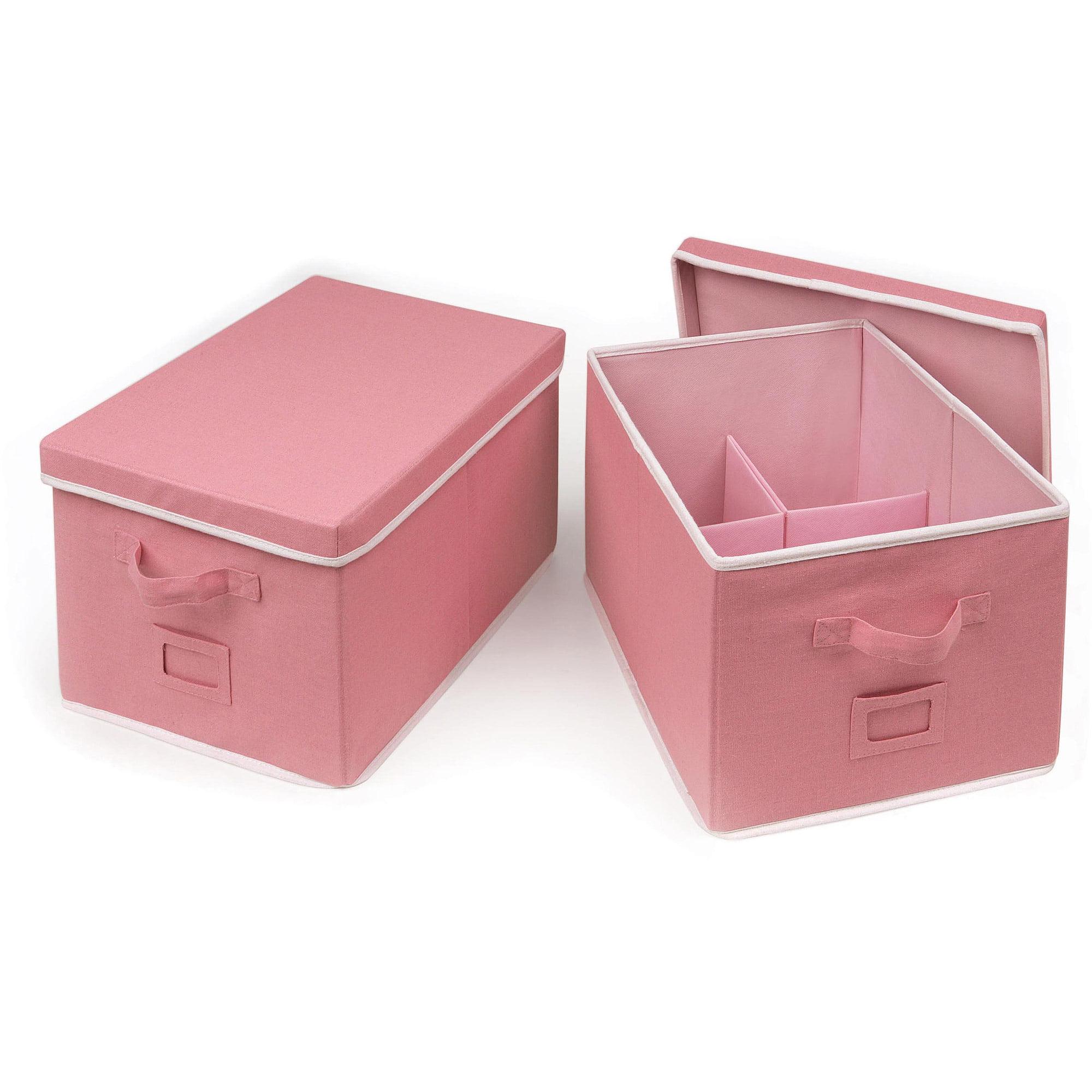 Badger Basket Large Folding Storage Baskets with Adjustable Dividers, Set of 2, Choose Your Color