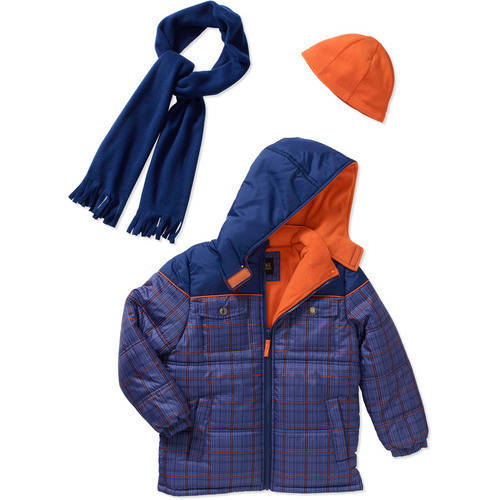 iXtreme Little Boys' Plaid Expedition Puffer Winter Scarf and Hat Coat Set