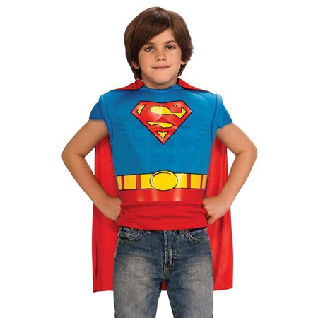 Boys With Muscles (Boys Superman Muscle Chest Shirt Set with Detachable Cape Size)