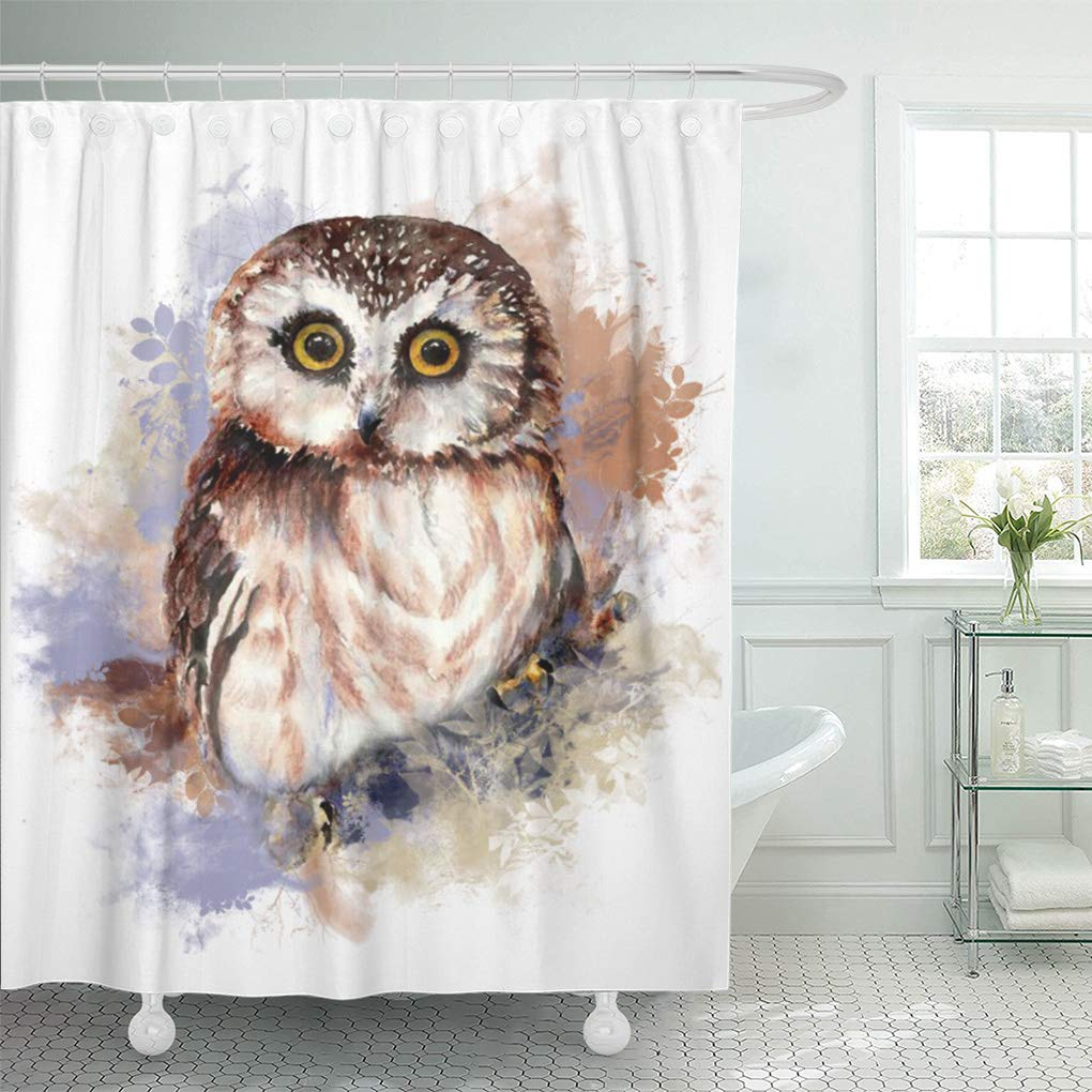 YUSDECOR Cute Watercolor Owl Bird Bathroom Decor Bath Shower Curtain 12x12  inch