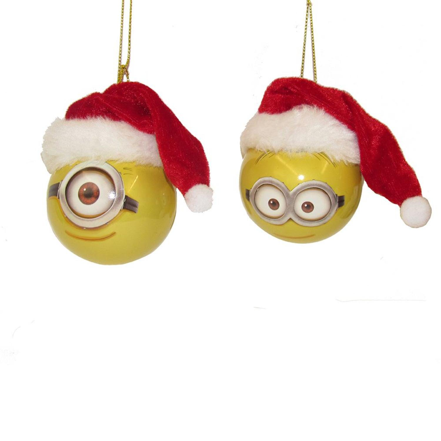 Club Pack of 24 Yellow and Dark Red Despicable Me Shatterproof Dave and Carl Ball Ornaments 2.36""