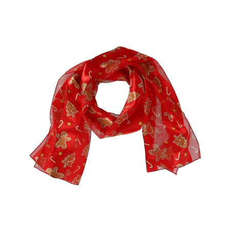 Size one size Women's Christmas Holiday Gingerbread Man Print Lightweight Scarf, Red](Holiday Scarf)