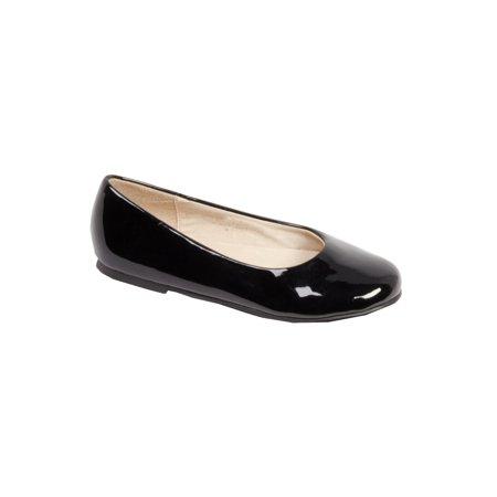 Pazitos Girls Black Patent All American Ballerina - Girls Black Flats