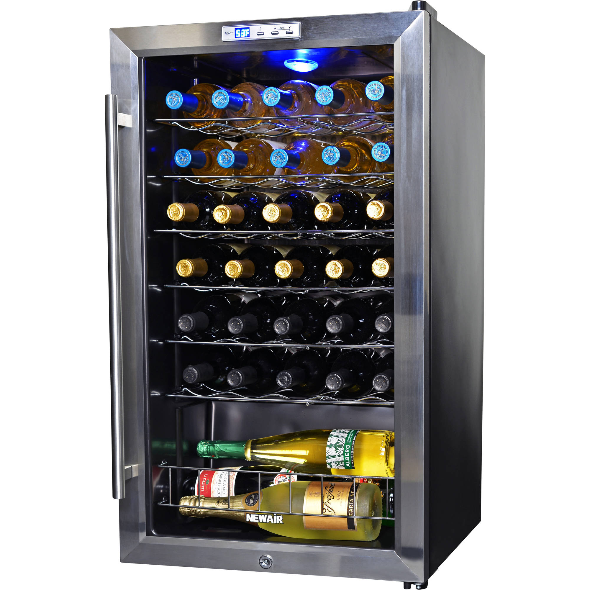 NewAir AWC-330 33-Bottle Compressor Wine Refrigerator, Stainless Steel and Black
