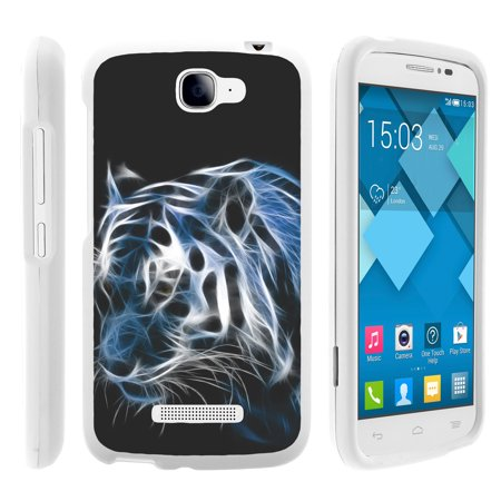 Alcatel Fierce 2, Pop Icon, 7040T, and A564C, [SNAP SHELL][White] 2 Piece Snap On Rubberized Hard White Plastic Cell Phone Case with Exclusive Art - White (Double Dragon Mobile)