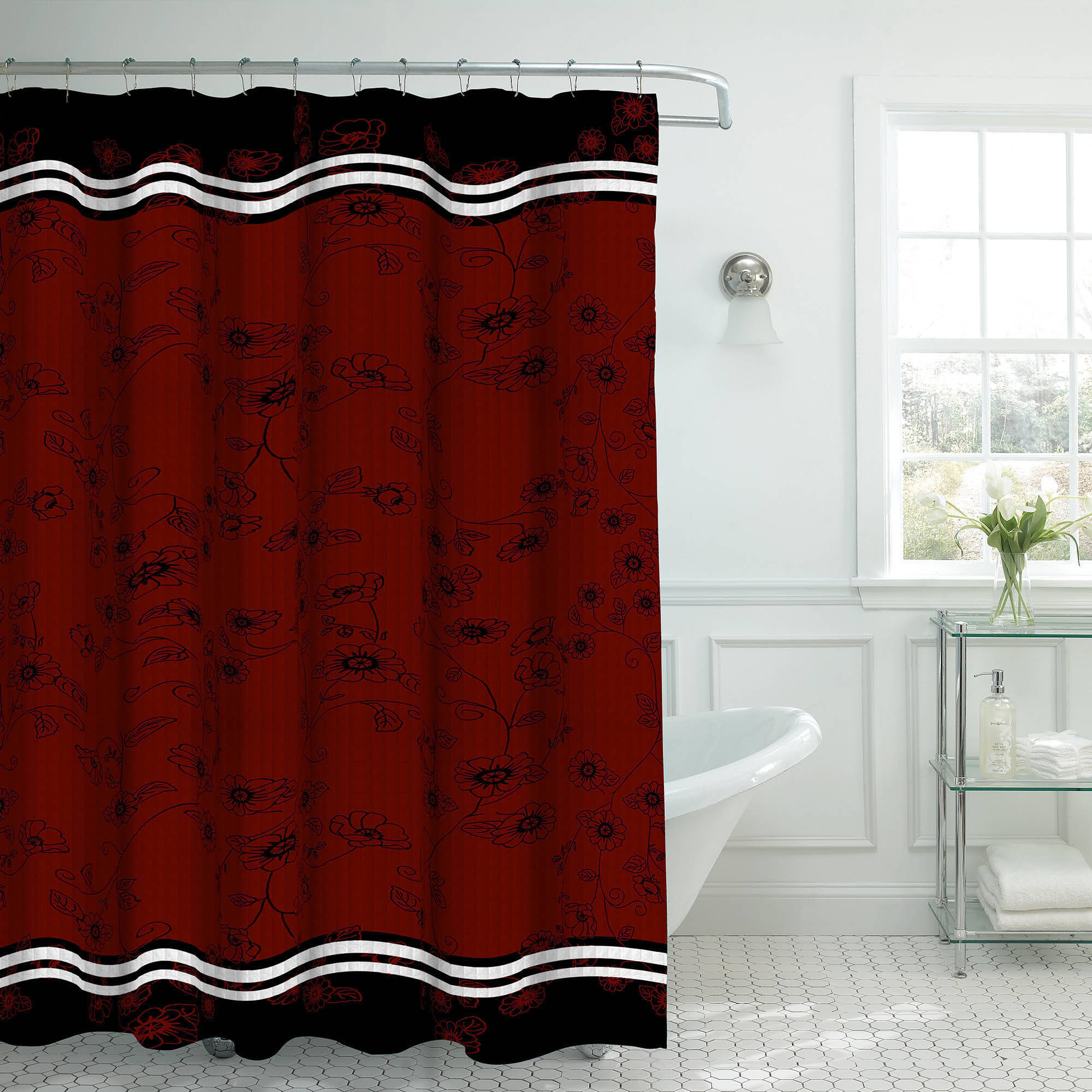 Bounce Comfort Oxford Weave Textured 13-Piece Shower Curtain Set with Metal Roller Hooks, Kalista Black/Red