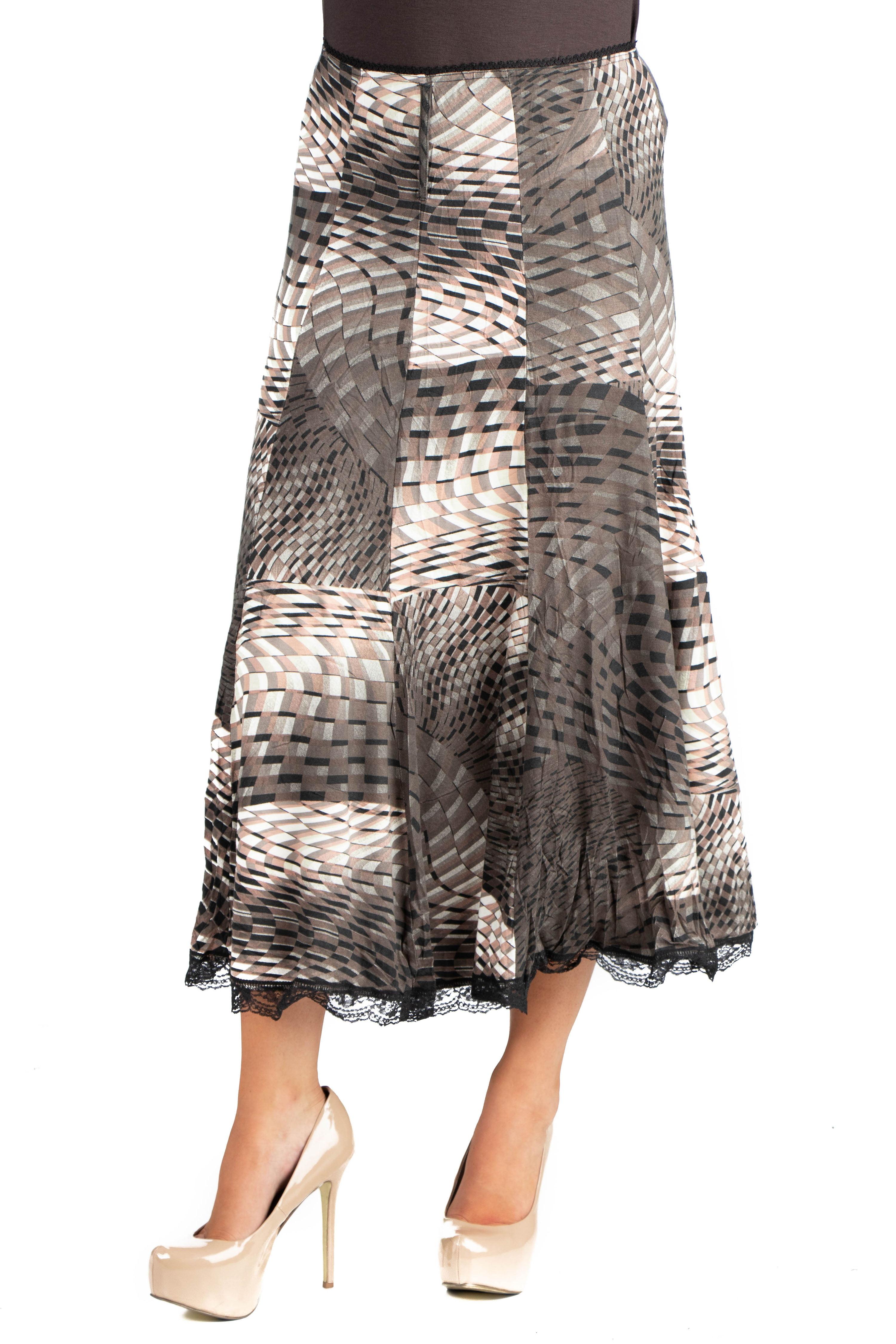 58c09648b9 24/7 Comfort Apparel - 24seven Comfort Apparel Flowy Geometric Print Midi  Skirt - Walmart.com