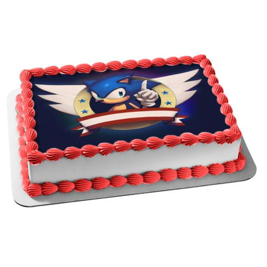 Sonic The Hedgehog Wings Stars Red Banner Edible Cake Topper Image