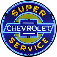 Neonetics 9CHEVYB Super Chevrolet Service 36 Sign Metal CAN, Yellow, White/Blue Neon
