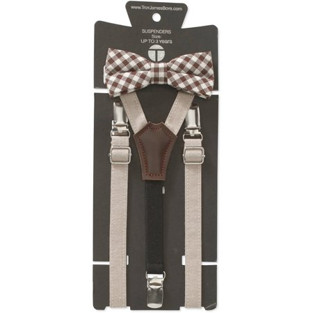 Check Necktie - Genevieve Goings Collection Boys Tan Check Bow Tie and Suspenders 2 pc Set