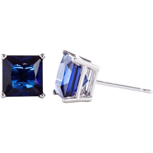 3.26 Carat T.G.W. Lab Sapphire 14kt White Gold Stud Earrings