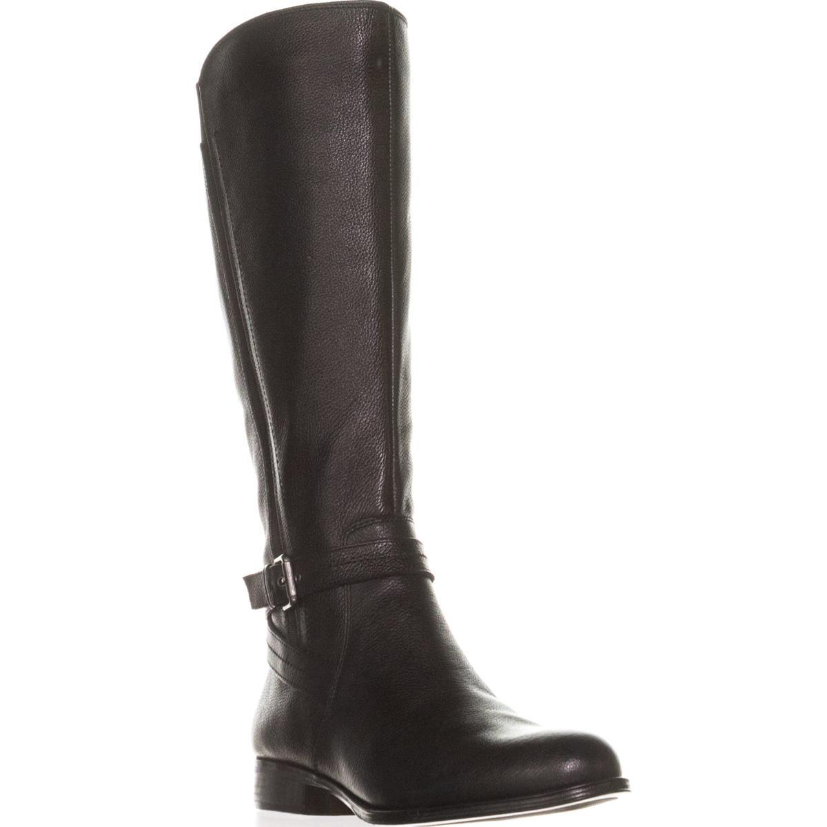 Womens Naturalizer Jelina Wide Calf Riding Boots, Black Leather by Naturalizer